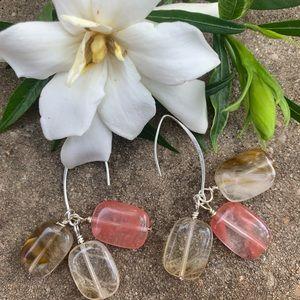 Pink-Clear-Brown Tourmaline earrings